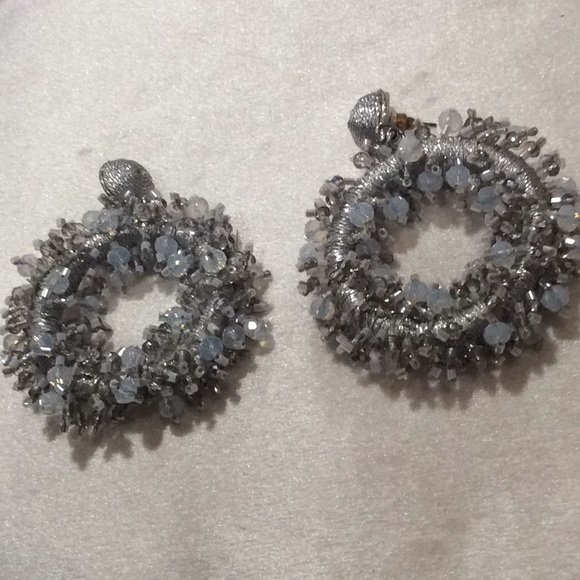 unknown Jewelry - Silver/White color beaded hanging earrings.(2/$16)